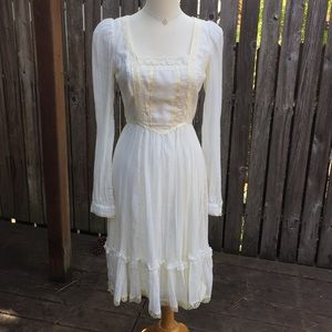 Gunne Sax Dress Prairie Boho Long Sleeves Vintage
